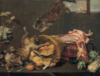 Frans Snyders Cats fighting in a larder, with loaves of bread, a dressed lamb, artichokes and grapes