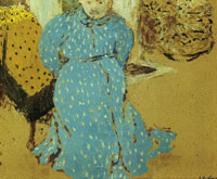 Edouard Vuillard Woman in Blue Dress with White Spots