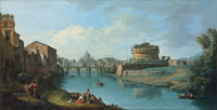 Giuseppe Zocchi The Tiber River, Rome, looking towards the Castel Sant'Angelo, with Saint Peter's Basilica beyond