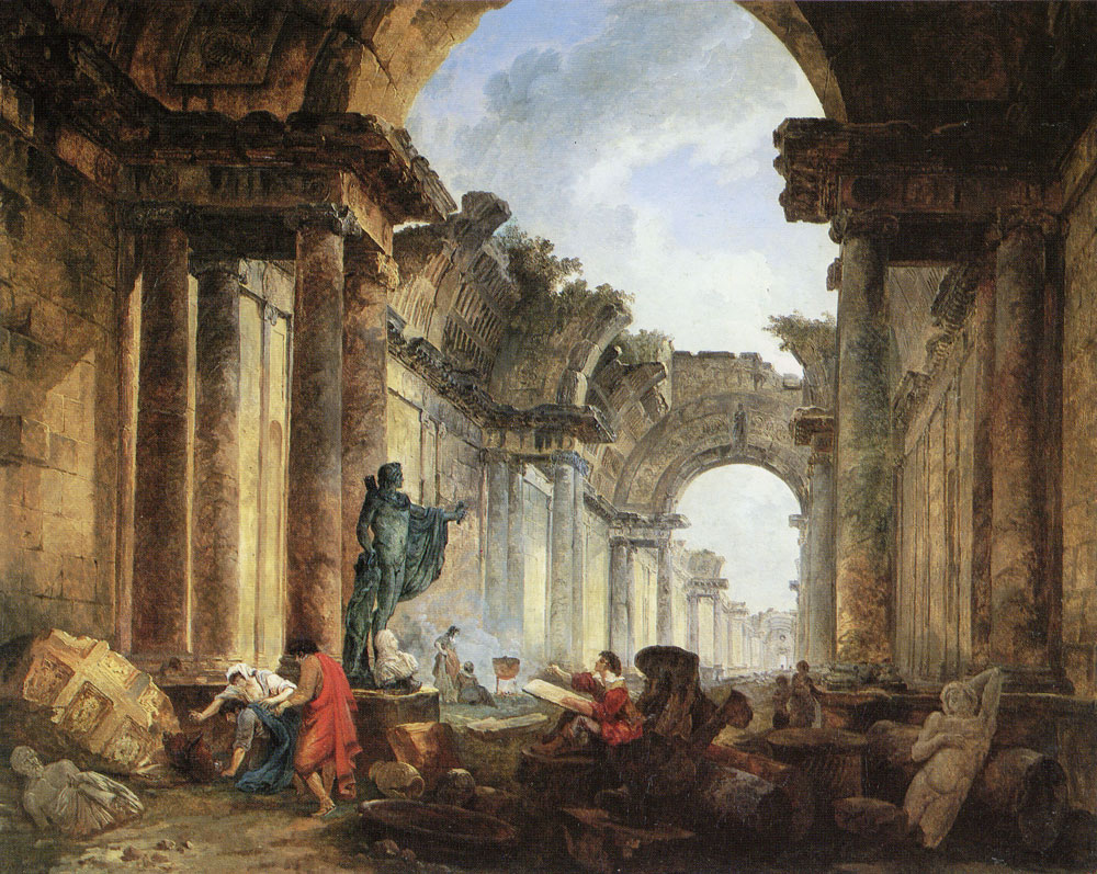Hubert Robert - Imaginary View of the Grande Galerie of the Louvre in Ruins