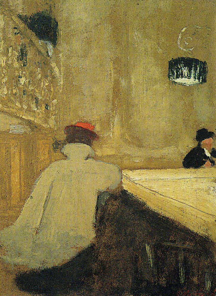 Edouard Vuillard - Young Woman Leaning on a Billiard-Table in a Café