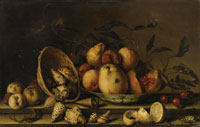 Balthasar van der Ast - Still Life with Basket of Shells, a Plate with Fruits and Insects