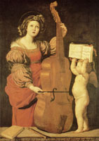 Domenichino St. Cecilia with an Angel Holding a Musical Score