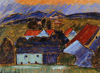 Alexej von Jawlensky Landscape with red roof