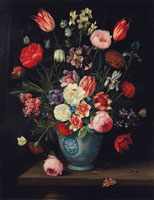 Jan van Kessel the Elder Roses, tulips, carnations an iris and other flowers in a Chinese transitional blue and white jardiniere