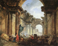 Hubert Robert Imaginary View of the Grande Galerie of the Louvre in Ruins