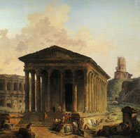 Hubert Robert The Maison Carrée, the Amphitheater and the Tour Magne in Nîmes