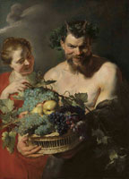 Peter Paul Rubens A satyr holding a basket of grapes and quinces with a nymph