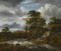 Jacob van Ruisdael Low Waterfall in a Hilly Landscape