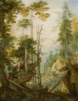 Roelandt Savery Alpine Landscape with Three Hunters