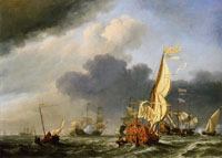 Willem van de Velde the Younger - A States Yacht in a Fresh Breeze Running toward a Group of Dutch Ships