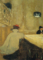 Edouard Vuillard Young Woman Leaning on a Billiard-Table in a Café