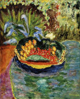 Pierre Bonnard - Basket of Fruit on a Table in the Garden at Le Cannet