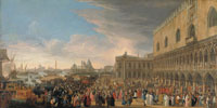 Luca Carlevarijs The Reception of the French Ambassador Henri Charles Arnauld, Abbé de Pomponne, at the Doge's Palace