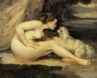 Gustave Courbet Nude with Dog