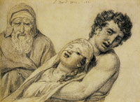 Jacques-Louis David Composition with Three Figures