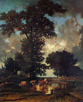 Jules Dupré The Pond by the Oak Trees