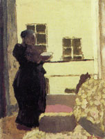 Edouard Vuillard Madame Vuillard Standing, Reading by a Window