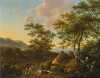 Willem de Heusch Italianate Landscape with Shepherds