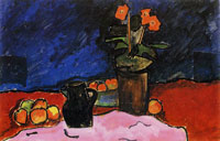 Alexej von Jawlensky - Still-life with fruit, jug and red cloth