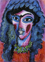 Alexej von Jawlensky - Head in wine-red and green