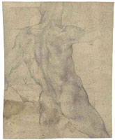 Michelangelo Male nude seen from behind