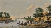 Pieter de Bloot - A Landscape with Ferries Crossing a River