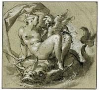Bartholomeus Spranger - Venus and Cupid on a Dolphin