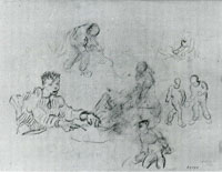 Vincent van Gogh Sheet with Sketches of Peasants