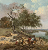 Jan Wijnants and Johannes Lingelbach River Landscape with Elegant Travellers