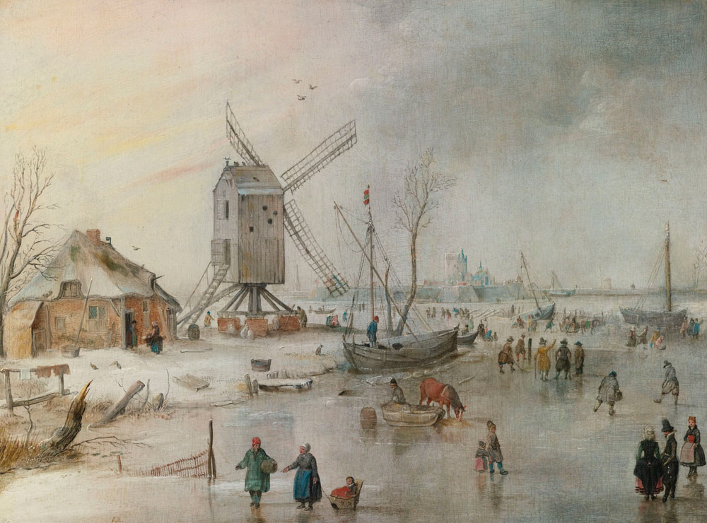 Hendrick Avercamp - Winter Scene with Windmil