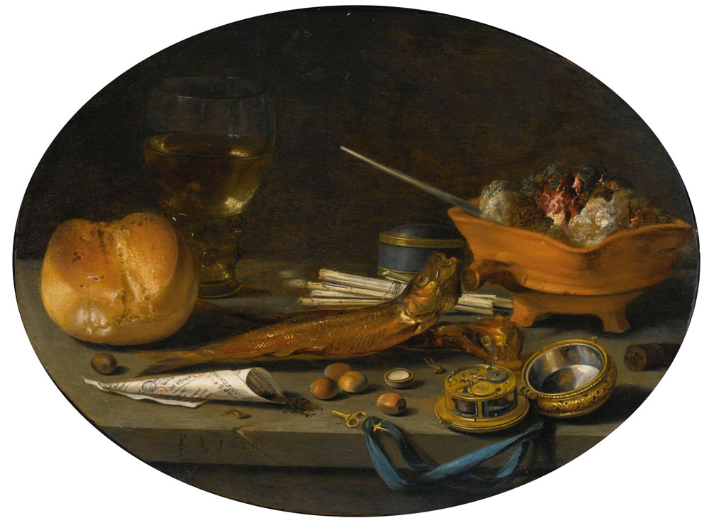 Pieter Claesz. - Still Life with Roemer, Roll, Smoked Herring, Watch and Smoker's Requisites