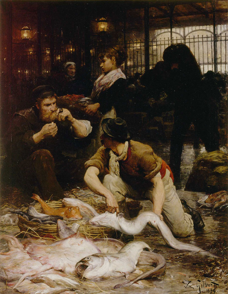 Victor-Gabriel Gilbert - A Corner of the Fishmarket in the Morning