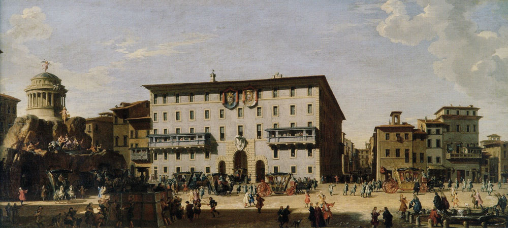 Giovanni Paolo Panini - The Fireworks Machine in Piazza di Spagna for the Celebration of the Birth of the Infante of Spain