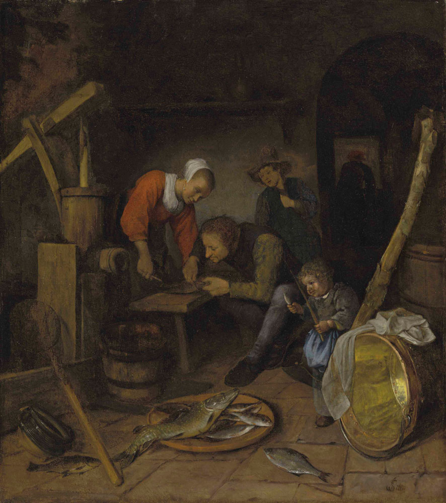 Jan Steen - An interior with figures preparing fish