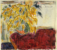 Pierre Bonnard - Vase of Flowers on a Red Cloth