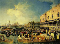 Canaletto - The Reception of the Imperial Ambassador Giuseppe Bolagnos at the Doge's Palace