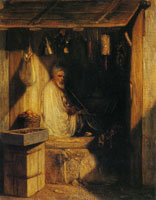 Alexandre-Gabriel Decamps Turkish Merchant Smoking in His Shop