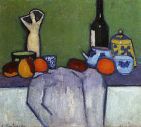 Alexej von Jawlensky - Still-life with fruit, figure and bottle