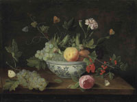 Jan van Kessel the Elder Grapes, peaches, cranberries, flowers and butterflies, in a porcelain bowl on a wooden ledge