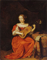 Caspar Netscher Young Girl Playing the Guitar