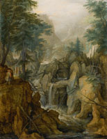 Roelandt Savery Alpine Landscape with Torrent and Hunter