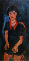 Chaim Soutine - Young Girl in Blue Dress with Red Collar