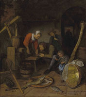 Jan Steen An interior with figures preparing fish
