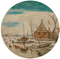 Esaias van de Velde Winter Landscape with Skaters and a Farm House