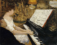 Edouard Vuillard Misia in White, Wearing a Red Necklace and Playing the Piano