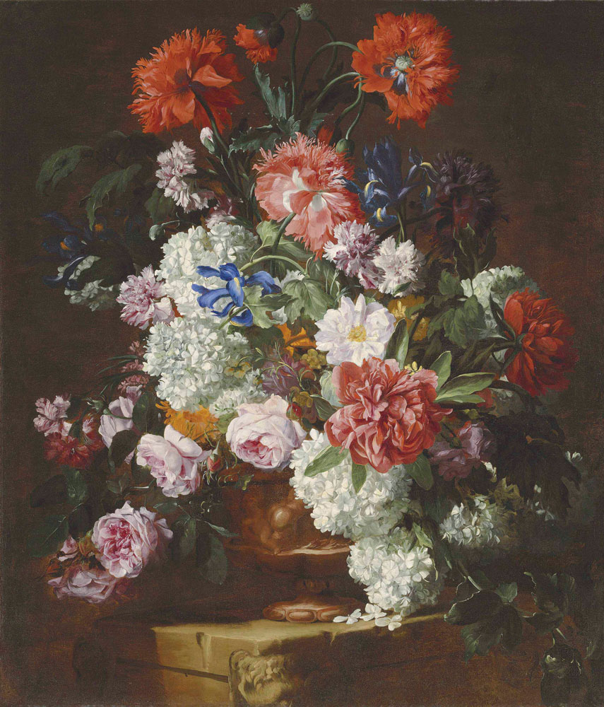 Hieronymus Galle - Roses, peonies, poppies, carnations, guelder roses and other flowers in a sculpted terracotta vase