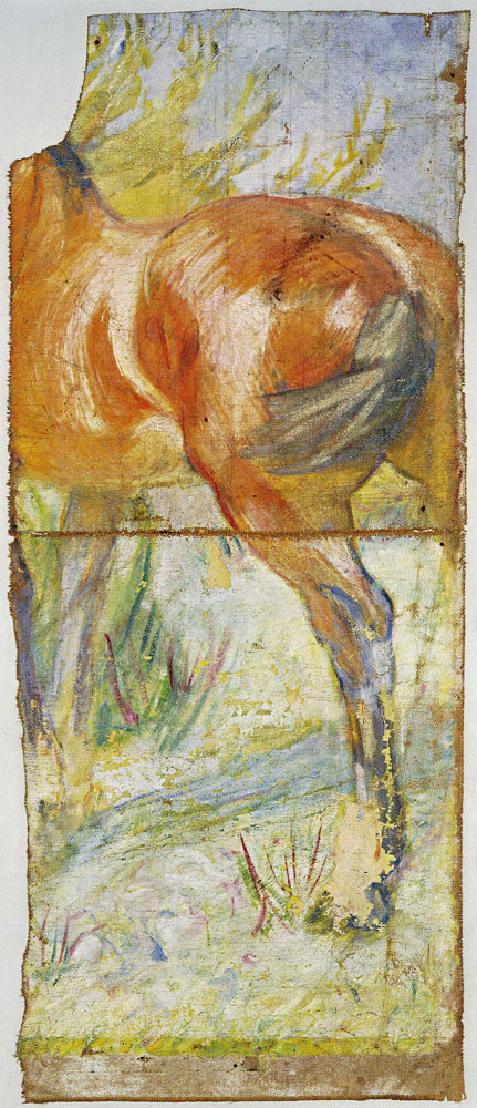 Franz Marc - Fragment with Study of the Body of a Horse