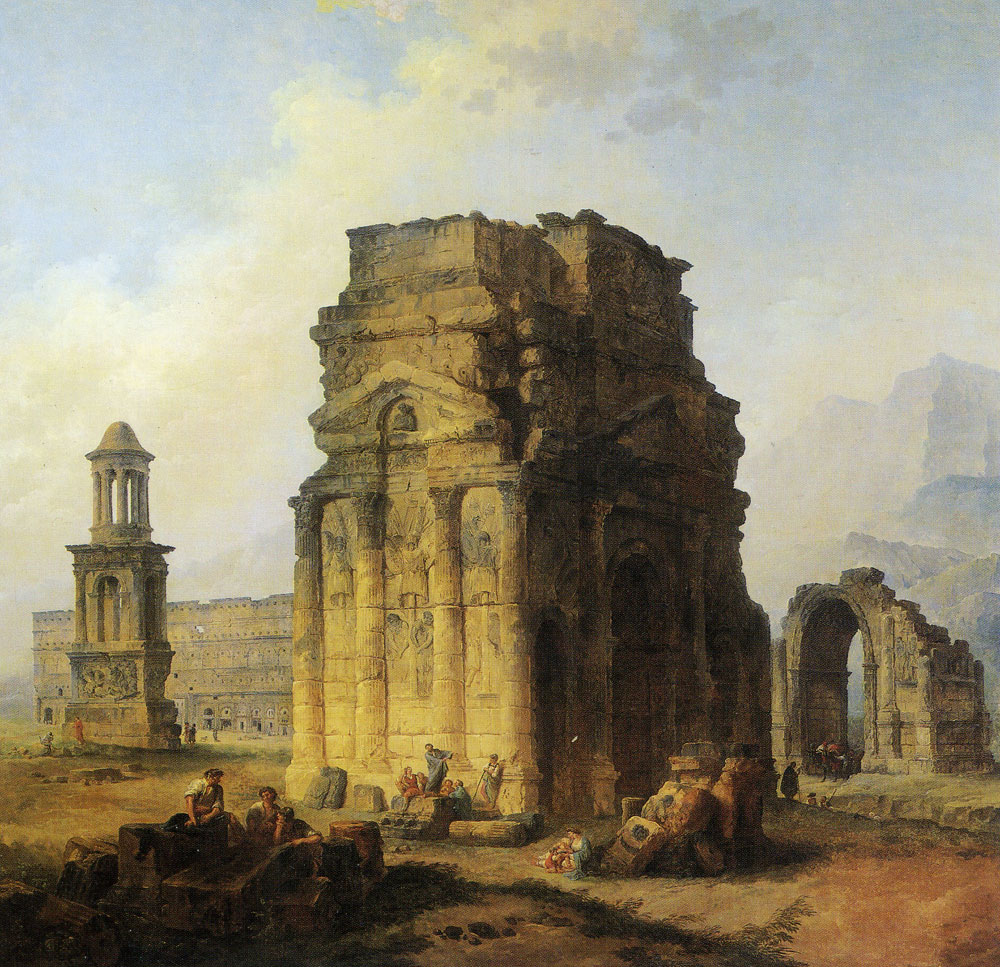 Hubert Robert - The Arc de Triomphe and the Theater in Orange