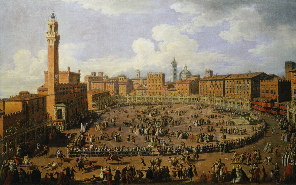 Giuseppe Zocchi - The Palio Race in the Campo in Honor of Grand Duke Francis of Tuscany and Archduchess Maria Theresa of Austria